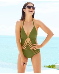 Kenneth Cole | Green Macrame Push-up One Piece Swimsuit | Lyst