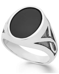 Macy's   Metallic Men's Onyx Oval Ring In Sterling Silver (3-1/3 Ct. T.w.) for Men   Lyst