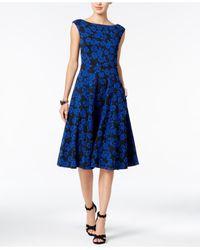 Betsey Johnson | Blue Textured Rose-print Midi Dress | Lyst