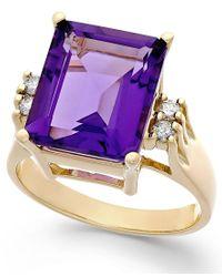 Macy's - Purple Amethyst (6 Ct. T.w.) And Diamond (1/8 Ct. T.w.) Ring In 14k Gold - Lyst