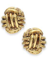 Lauren by Ralph Lauren - Metallic Gold-tone Monkey Fist Knot Stud Earrings - Lyst