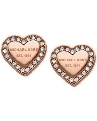 Michael Kors | Pink Crystal Heart Stud Earrings | Lyst