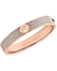 Michael Kors - Pink Logo Disc Pavé Hinge Bangle - Lyst