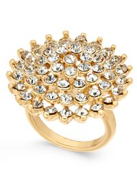INC International Concepts - Metallic Gold-tone Pavé Flower Ring - Lyst