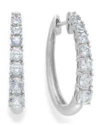 Macy's | Metallic White Sapphire Hoop Earrings In 14k White Gold (2-1/3 Ct. T.w.) | Lyst