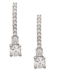 Macy's - Metallic White Sapphire Drop Earrings In 14k White Gold (1 Ct. T.w.) - Lyst