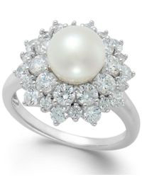Arabella | Metallic Cultured Freshwater Pearl (8mm) And Swarovski Zirconia Ring In Sterling Silver | Lyst