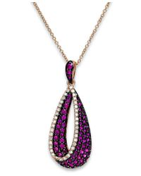 Effy Collection - Red Amore By Effy Ruby (7/8 Ct. T.w.) And Diamond (1/6 Ct. T.w.) Pendant Necklace In 14k Rose Gold - Lyst