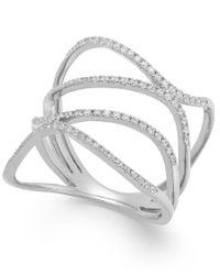 Macy's   Multicolor Diamond Wavy Ring In 14k White Gold (3/8 Ct. T.w.)   Lyst