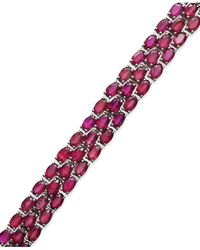 Macy's | Multicolor Ruby Three-row Bracelet In Sterling Silver (25 Ct. T.w.) | Lyst