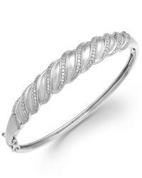 Macy's | Metallic Diamond Swirl Bangle Bracelet In Sterling Silver (1/4 Ct. T.w.) | Lyst