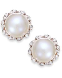 Macy's - Metallic Cultured Freshwater Pearl (7mm) And Diamond (1/8 Ct. T.w.) Earrings In 14k Gold - Lyst