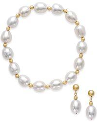 Macy's - Metallic Freshwater Pearl Earring And Bracelet Set (8-9mm) In 14k Gold - Lyst