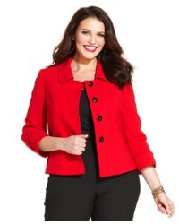Tahari | Red Plus Size Three-button Three-quarter-sleeve Jacket | Lyst