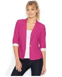 Kensie - Purple Three-quarter-sleeve Blazer - Lyst