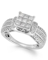 Macy's | Metallic Diamond Square Halo Ring In 14k White Gold (1 Ct. T.w.) | Lyst