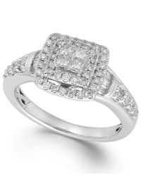 Macy's - Diamond Halo Ring In 14k White Gold (5/8 Ct. T.w.) - Lyst