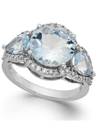 Macy's - Blue Aquamarine (4-3/8 Ct. T.w.) And Diamond (3/8 Ct. T.w.) Ring In 14k White Gold - Lyst
