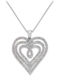 Macy's | Metallic Diamond Nested Heart Pendant Necklace In Sterling Silver (1/2 Ct. T.w.) | Lyst