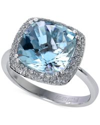 Effy Collection | Blue Aquarius By Effy Aquamarine (4 Ct. T.w.) And Diamond (1/4 Ct. T.w.) Ring In 14k White Gold | Lyst