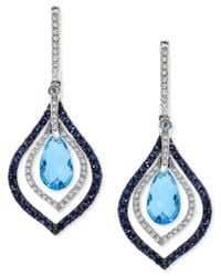 Effy Collection | Effy Blue Topaz And Sapphire (4-5/8 Ct. T.w.) And Diamond (1/3 Ct. T.w.) Drop Earrings In 14k White Gold | Lyst
