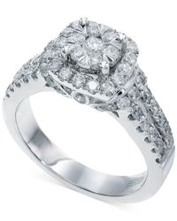 Effy Collection - Metallic Bouquet By Effy Diamond Square Halo Engagement Ring In 14k White Gold (1-1/4 Ct. T.w.) - Lyst