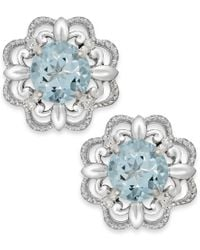 Macy's - Multicolor Aquamarine (1/2 Ct. T.w.) And Diamond Accent Earrings In 14k White Gold - Lyst