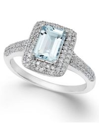 Macy's - Metallic Aquamarine (9/10 Ct. T.w.) And Diamond (1/3 Ct. T.w.) Ring In 14k White Gold - Lyst