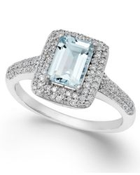 Macy's | Metallic Aquamarine (9/10 Ct. T.w.) And Diamond (1/3 Ct. T.w.) Ring In 14k White Gold | Lyst