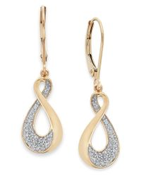 Macy's | Metallic Diamond Infinity Drop Earrings In 10k Gold (1/5 Ct. T.w.) | Lyst