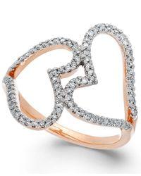 Macy's | Metallic Diamond Double Heart Ring In 14k Rose Gold (1/3 Ct. T.w.) | Lyst
