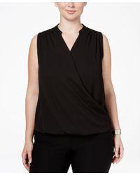 INC International Concepts   Black Plus Size Sleeveless Surplice Top   Lyst