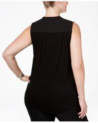 INC International Concepts - Black Plus Size Sleeveless Surplice Top - Lyst