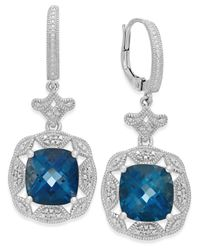 Macy's | Metallic London Blue Topaz (7 Ct. T.w.) And Diamond (1/7 Ct. T.w.) Earrings In Sterling Silver | Lyst
