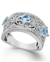 Macy's | Metallic Aquamarine (1-1/4 Ct. T.w.) And Diamond (1/10 Ct. T.w.) Band In Sterling Silver | Lyst