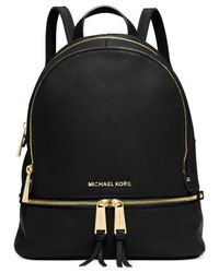 Michael Kors | Black Rhea Zip Small Backpack | Lyst