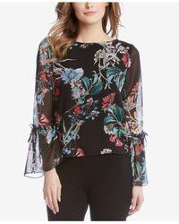 Karen Kane | Multicolor Floral Print Bell Sleeve Blouse | Lyst