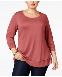 Style & Co.   Red Plus Size Chiffon-hem Top, Only At Macy's   Lyst