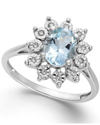 Macy's | Blue Aquamarine (1 Ct. T.w.) And Diamond Accent Ring In 14k White Gold | Lyst