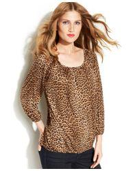 Michael Kors - Brown Leopard-print Peasant Top - Lyst