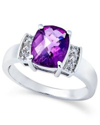 Macy's | Multicolor Amethyst (2-1/10 Ct. T.w.) And Diamond (1/8 Ct. T.w.) Ring In 14k White Gold | Lyst