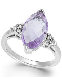 Macy's - Metallic Pink Amethyst (3 Ct. T.w.) And Diamond (1/8 Ct. T.w.) Ring In 14k White Gold - Lyst