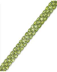 Macy's | Green Peridot Three-row Bracelet In Sterling Silver (25 Ct. T.w.) | Lyst