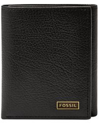 Fossil - Brown Omega Trifold Leather Wallet for Men - Lyst