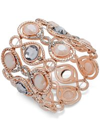 INC International Concepts - Pink Rose Gold-tone Large Stone Stretch Bracelet - Lyst