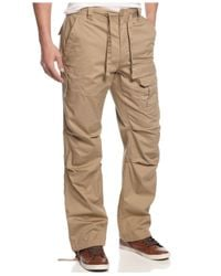 Sean John - Brown Men's Pleat Pocket Flight Cargo Pants for Men - Lyst