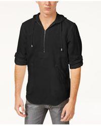 INC International Concepts - Black Half-zip Linen-blend Hoodie, Created For Macy's for Men - Lyst