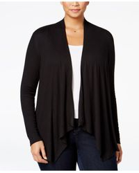 INC International Concepts | Black Plus Size Draped Cardigan, Only At Macy's | Lyst