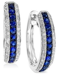 Effy Collection | Blue Effy Sapphire (1/3 Ct. T.w.) And Diamond (1/4 Ct. T.w.) Hoop Earrings In 14k White Gold | Lyst