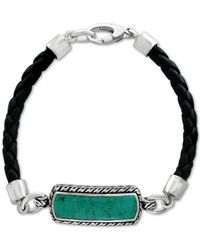 Effy Collection - Metallic Men's Manufactured Turquoise (27-1/2 X 8mm) Black Leather Bracelet In Sterling Silver for Men - Lyst
